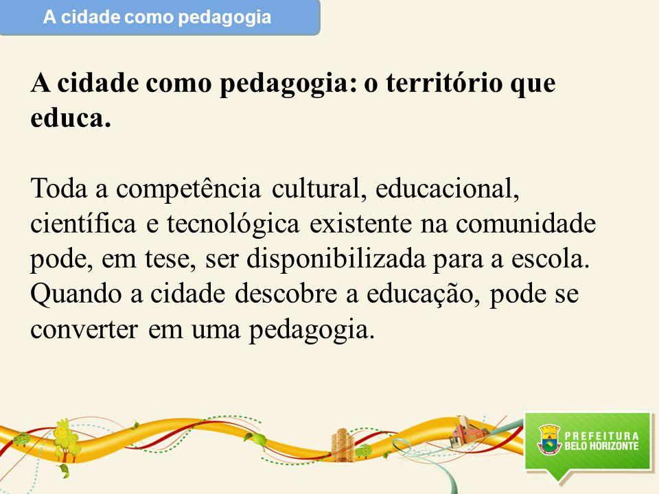 A cidade como pedagogia A cidade como pedagogia: o território que educa. Toda a competência cultural, educacional, científica e tecnológica existente