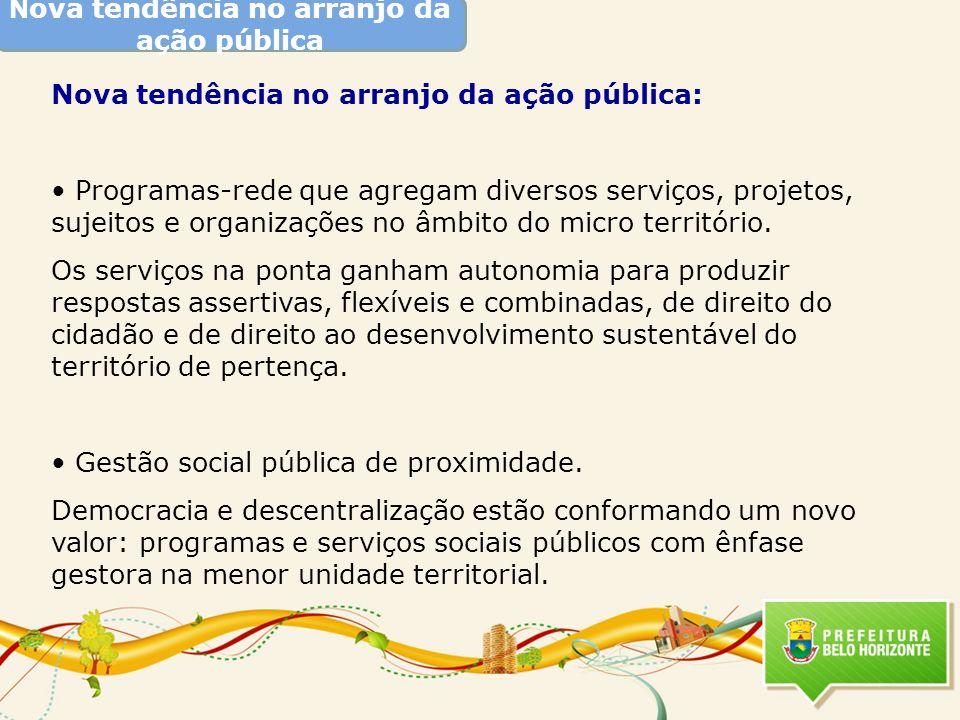 N ova tendência no arranjo da ação pública Nova tendência no arranjo da ação pública: Programas-rede que agregam diversos serviços, projetos, sujeitos