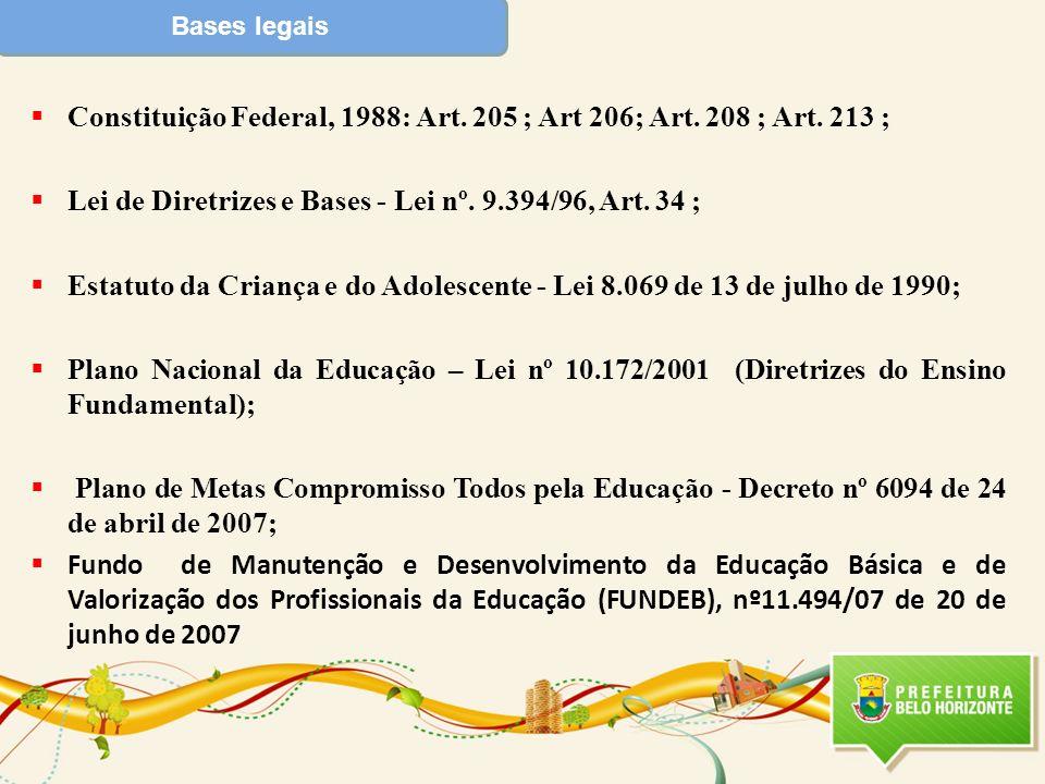 Bases legais Constituição Federal, 1988: Art. 205 ; Art 206; Art. 208 ; Art. 213 ; Lei de Diretrizes e Bases - Lei nº. 9.394/96, Art. 34 ; Estatuto da