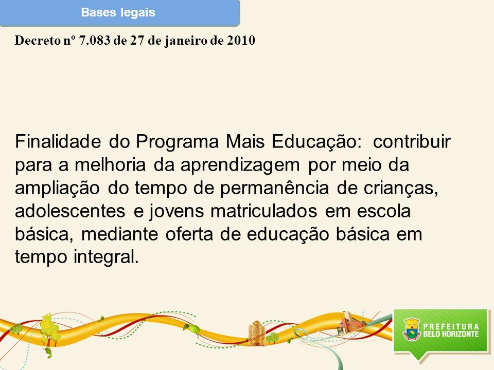 Bases legais Decreto nº 7.083 de 27 de janeiro de 2010 Finalidade do Programa Mais Educação: contribuir para a melhoria da aprendizagem por meio da am