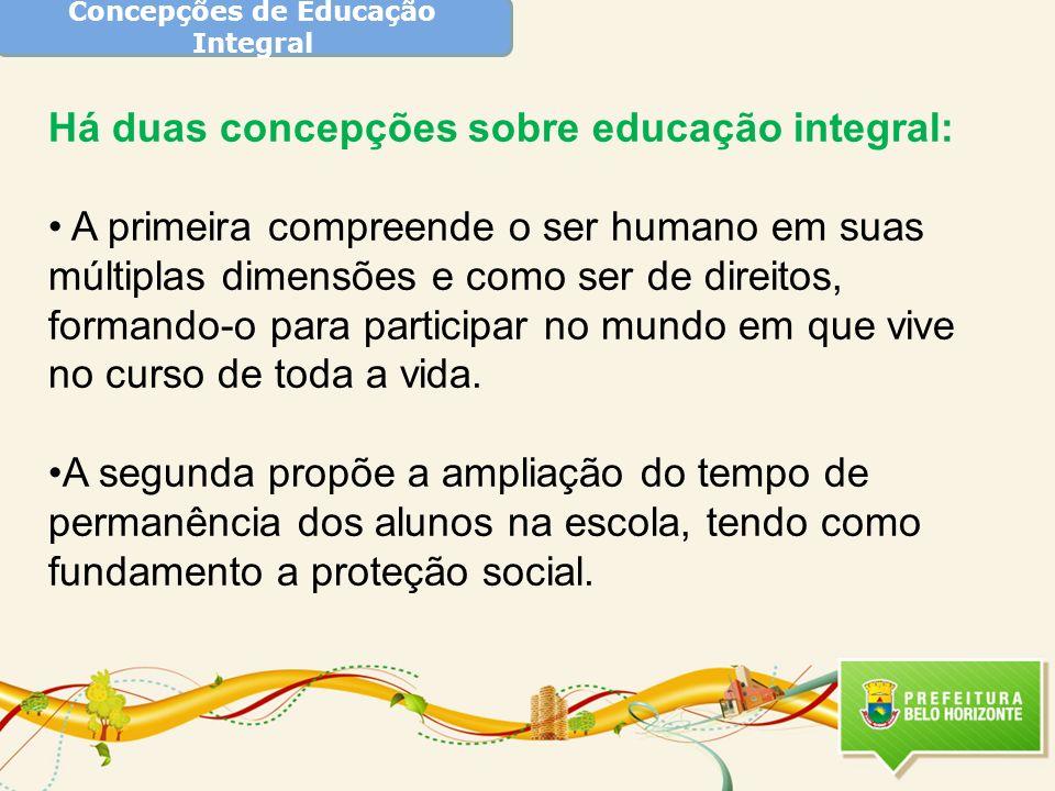 Concepções de Educação Integral Há duas concepções sobre educação integral: A primeira compreende o ser humano em suas múltiplas dimensões e como ser