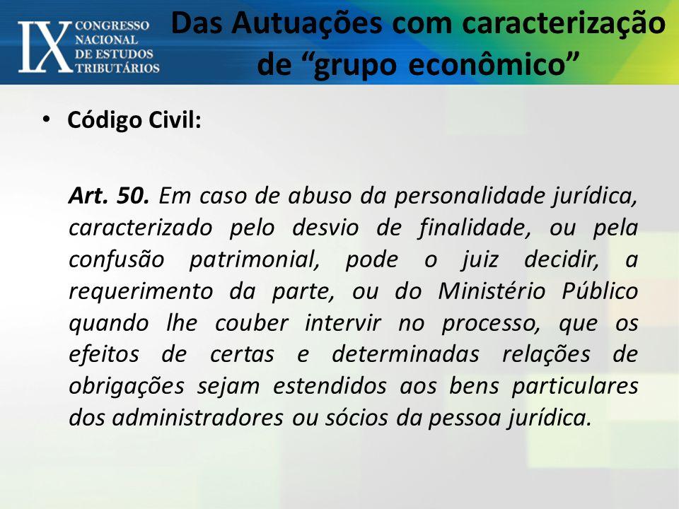 Das Autuações com caracterização de grupo econômico Código Civil: Art.