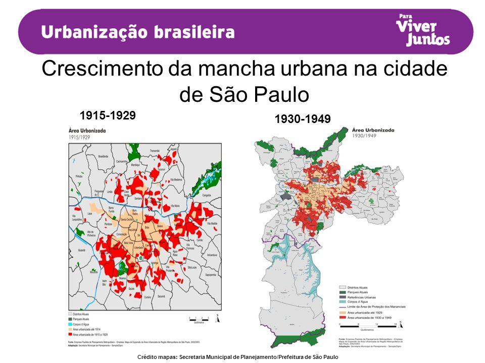 Crescimento da mancha urbana na cidade de São Paulo 1915-1929 1930-1949 Crédito mapas: Secretaria Municipal de Planejamento/Prefeitura de São Paulo