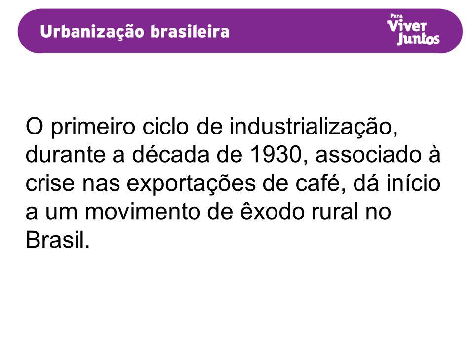 O primeiro ciclo de industrialização, durante a década de 1930, associado à crise nas exportações de café, dá início a um movimento de êxodo rural no