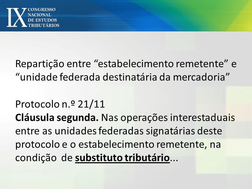 Repartição entre estabelecimento remetente e unidade federada destinatária da mercadoria Protocolo n.º 21/11 Cláusula segunda. Nas operações interesta