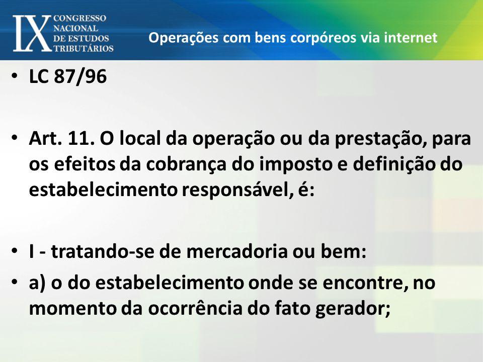Operações com bens corpóreos via internet LC 87/96 Art. 11. O local da operação ou da prestação, para os efeitos da cobrança do imposto e definição do