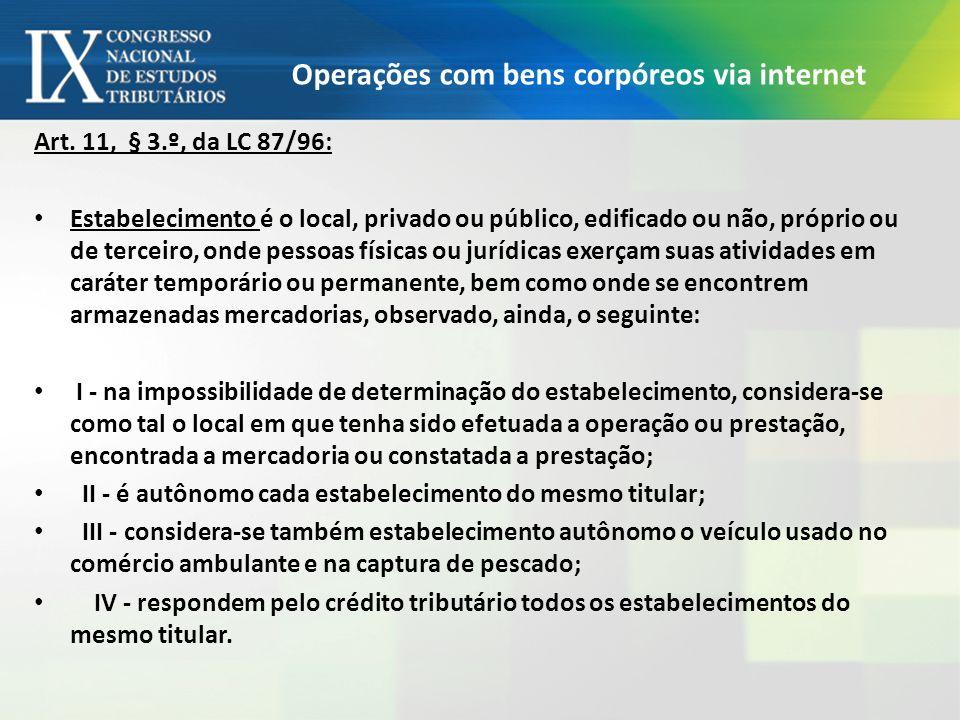 Operações com bens corpóreos via internet Art. 11, § 3.º, da LC 87/96: Estabelecimento é o local, privado ou público, edificado ou não, próprio ou de