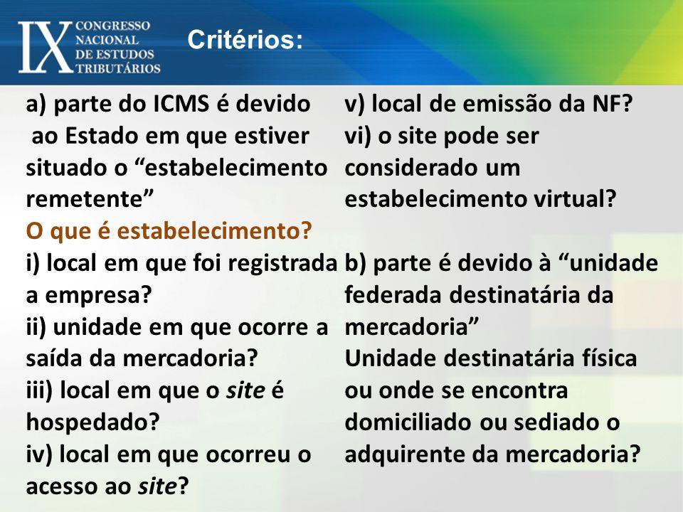 a) parte do ICMS é devido ao Estado em que estiver situado o estabelecimento remetente O que é estabelecimento? i) local em que foi registrada a empre