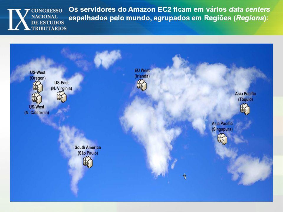 Os servidores do Amazon EC2 ficam em vários data centers espalhados pelo mundo, agrupados em Regiões (Regions):