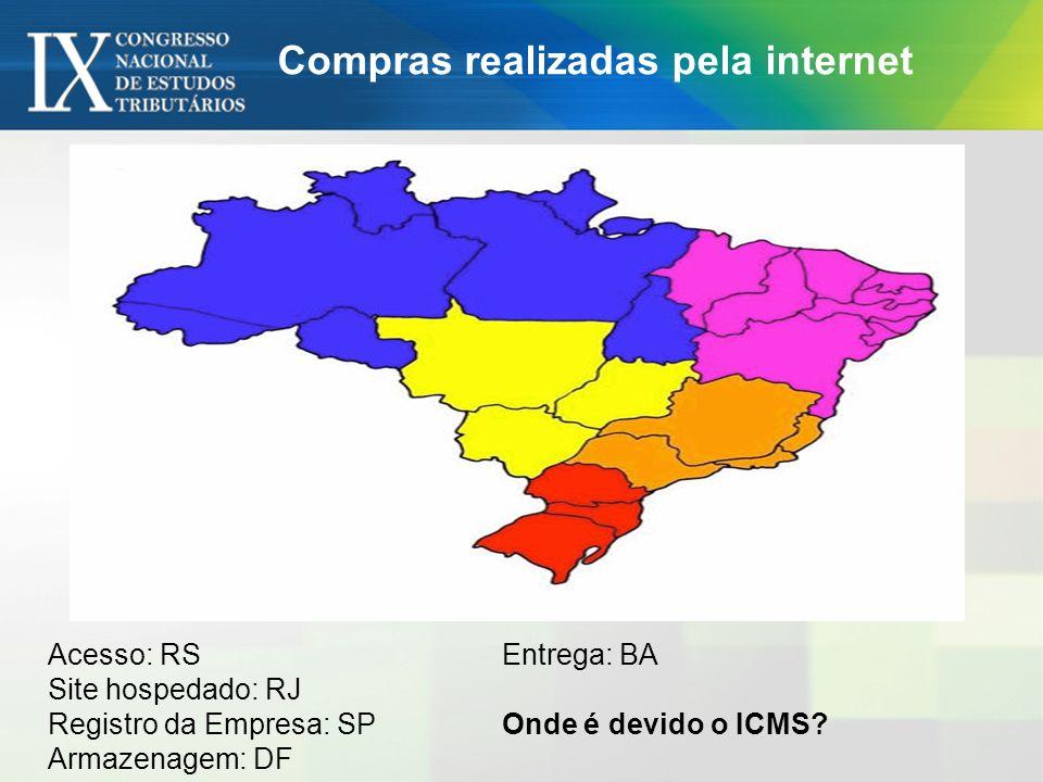 Acesso: RS Site hospedado: RJ Registro da Empresa: SP Armazenagem: DF Entrega: BA Onde é devido o ICMS? Compras realizadas pela internet