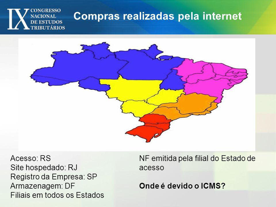 Acesso: RS Site hospedado: RJ Registro da Empresa: SP Armazenagem: DF Filiais em todos os Estados NF emitida pela filial do Estado de acesso Onde é de
