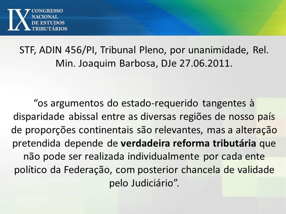 STF, ADIN 456/PI, Tribunal Pleno, por unanimidade, Rel. Min. Joaquim Barbosa, DJe 27.06.2011. os argumentos do estado-requerido tangentes à disparidad