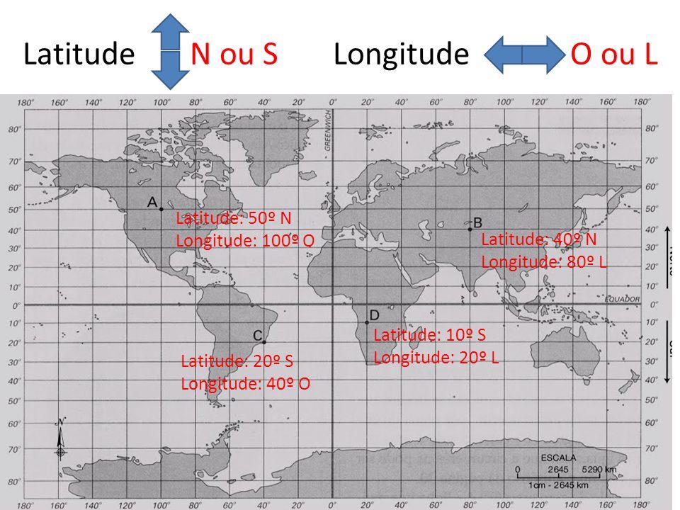Latitude N ou S Longitude O ou L Latitude: 10º S Longitude: 20º L Latitude: 40º N Longitude: 80º L Latitude: 20º S Longitude: 40º O Latitude: 50º N Longitude: 100º O