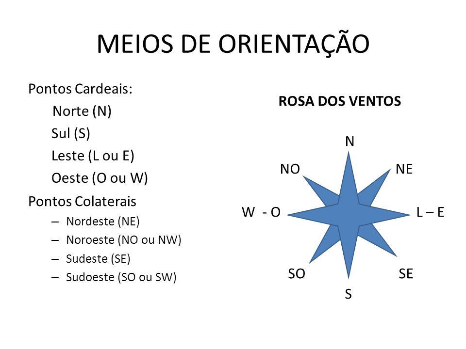 N NO NE W - O L – E SO SE S MEIOS DE ORIENTAÇÃO Pontos Cardeais: Norte (N) Sul (S) Leste (L ou E) Oeste (O ou W) Pontos Colaterais – Nordeste (NE) – Noroeste (NO ou NW) – Sudeste (SE) – Sudoeste (SO ou SW) ROSA DOS VENTOS