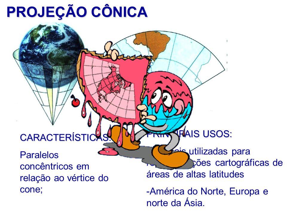 PROJEÇÃO CÔNICA CARACTERÍSTICAS: Paralelos concêntricos em relação ao vértice do cone; PRINCIPAIS USOS: São mais utilizadas para representações cartográficas de áreas de altas latitudes -América do Norte, Europa e norte da Ásia.