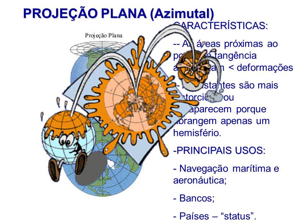 PROJEÇÃO PLANA (Azimutal) CARACTERÍSTICAS: -- As áreas próximas ao ponto de tangência apresentam < deformações -- As distantes são mais distorcidas ou desaparecem porque abrangem apenas um hemisfério.