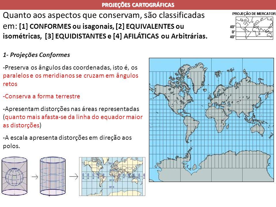 PROJEÇÕES CARTOGRÁFICAS Quanto aos aspectos que conservam, são classificadas em: [1] CONFORMES ou isagonais, [2] EQUIVALENTES ou isométricas, [3] EQUIDISTANTES e [4] AFILÁTICAS ou Arbitrárias.