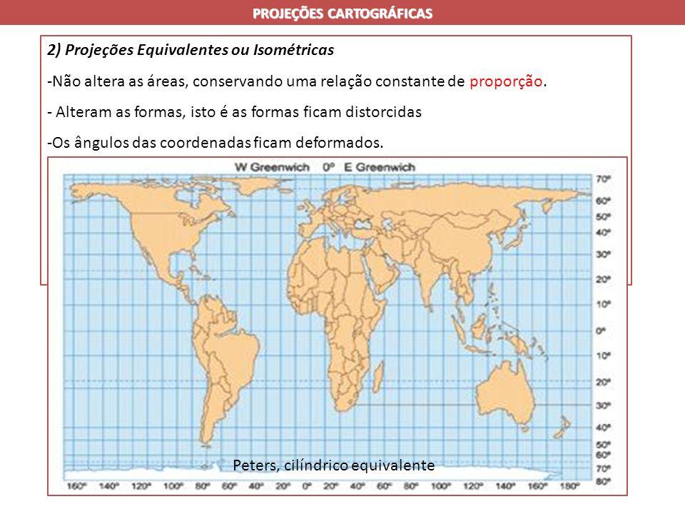 PROJEÇÕES CARTOGRÁFICAS 2) Projeções Equivalentes ou Isométricas -Não altera as áreas, conservando uma relação constante de proporção.