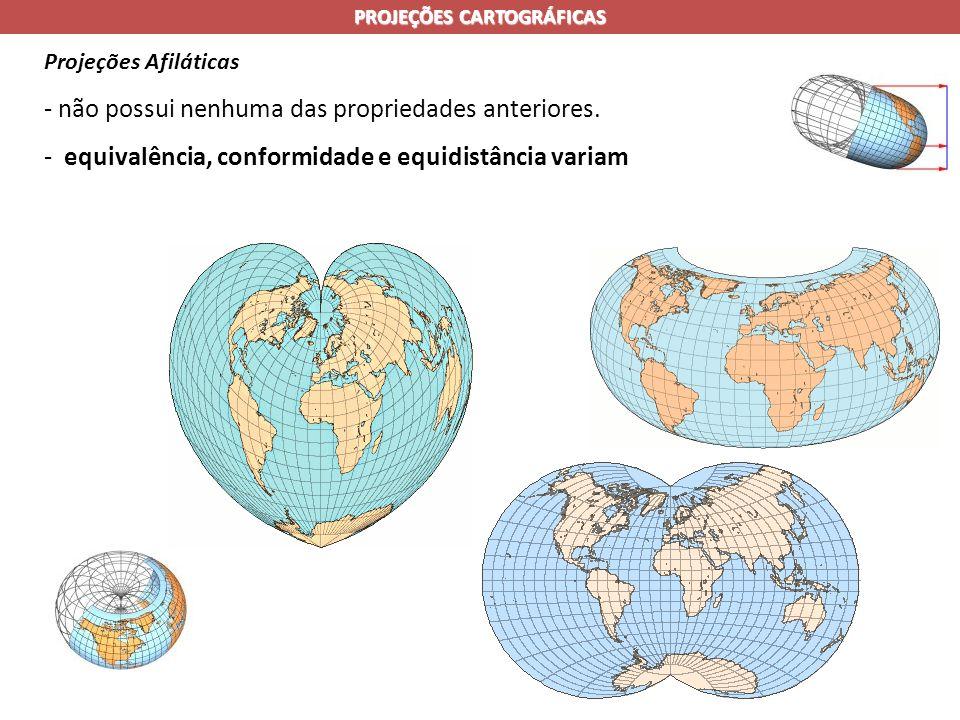 PROJEÇÕES CARTOGRÁFICAS Projeções Afiláticas - não possui nenhuma das propriedades anteriores.