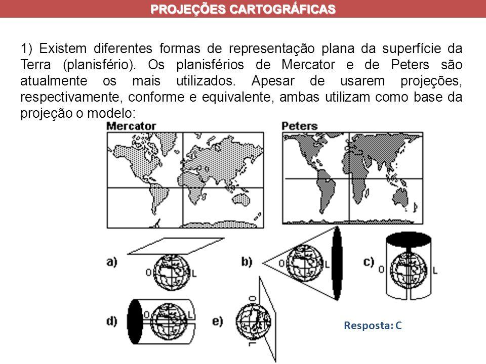 1) Existem diferentes formas de representação plana da superfície da Terra (planisfério).