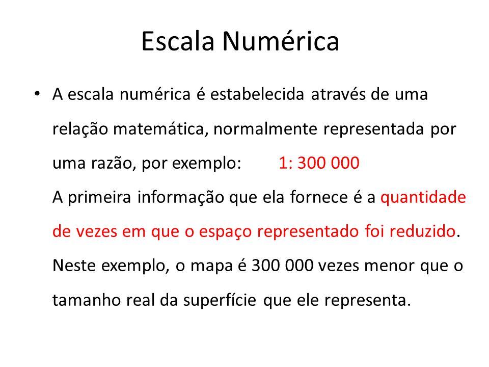Escala Numérica A escala numérica é estabelecida através de uma relação matemática, normalmente representada por uma razão, por exemplo: 1: 300 000 A primeira informação que ela fornece é a quantidade de vezes em que o espaço representado foi reduzido.