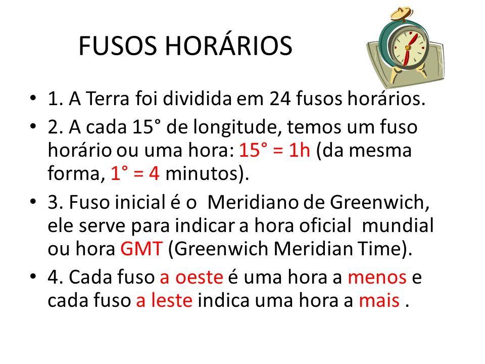 FUSOS HORÁRIOS 1.A Terra foi dividida em 24 fusos horários.