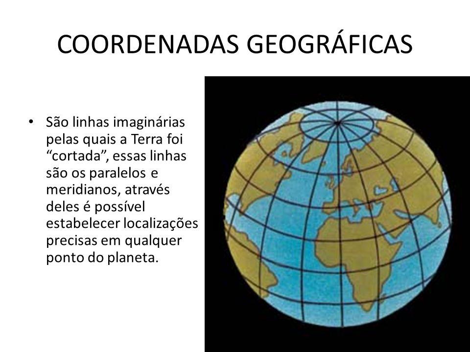 COORDENADAS GEOGRÁFICAS São linhas imaginárias pelas quais a Terra foi cortada, essas linhas são os paralelos e meridianos, através deles é possível estabelecer localizações precisas em qualquer ponto do planeta.