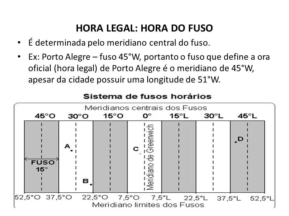 HORA LEGAL: HORA DO FUSO É determinada pelo meridiano central do fuso.