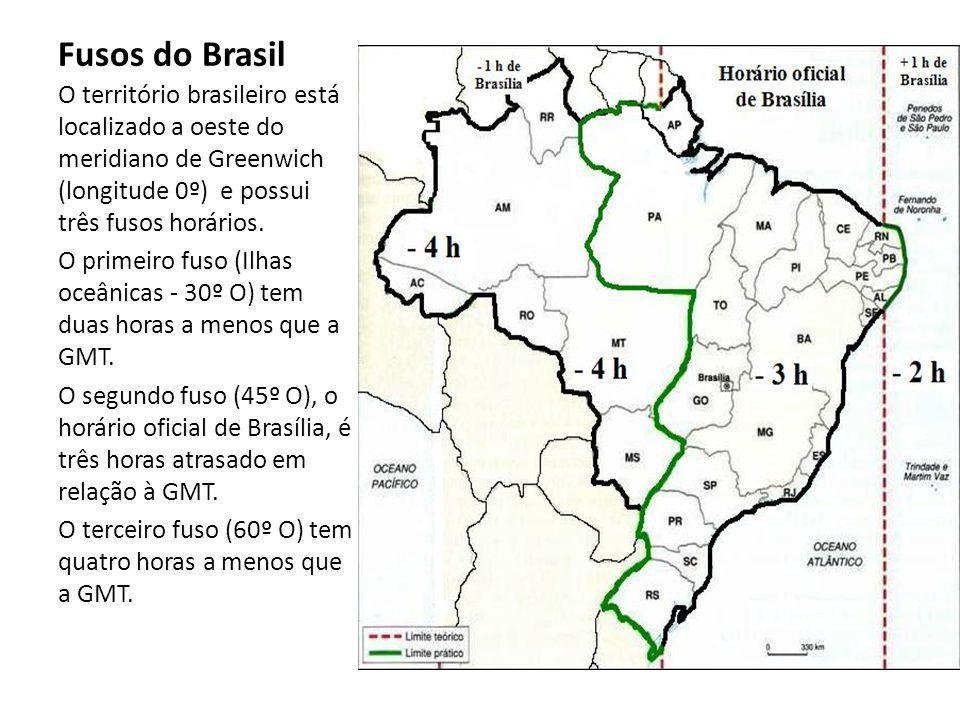 Fusos do Brasil O território brasileiro está localizado a oeste do meridiano de Greenwich (longitude 0º) e possui três fusos horários.