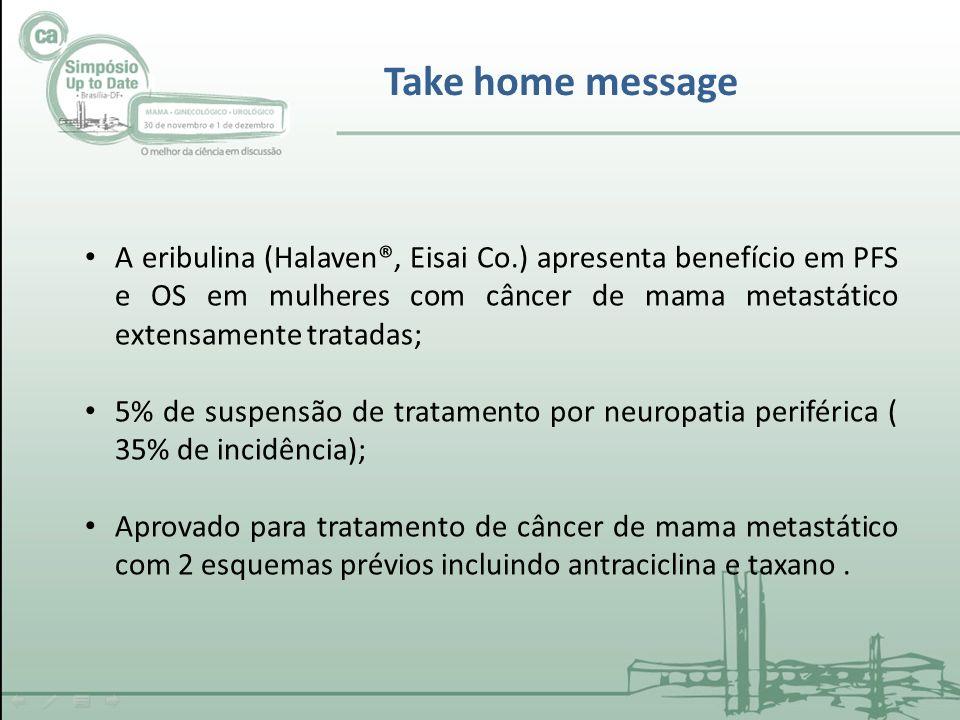 Take home message A eribulina (Halaven®, Eisai Co.) apresenta benefício em PFS e OS em mulheres com câncer de mama metastático extensamente tratadas; 5% de suspensão de tratamento por neuropatia periférica ( 35% de incidência); Aprovado para tratamento de câncer de mama metastático com 2 esquemas prévios incluindo antraciclina e taxano.