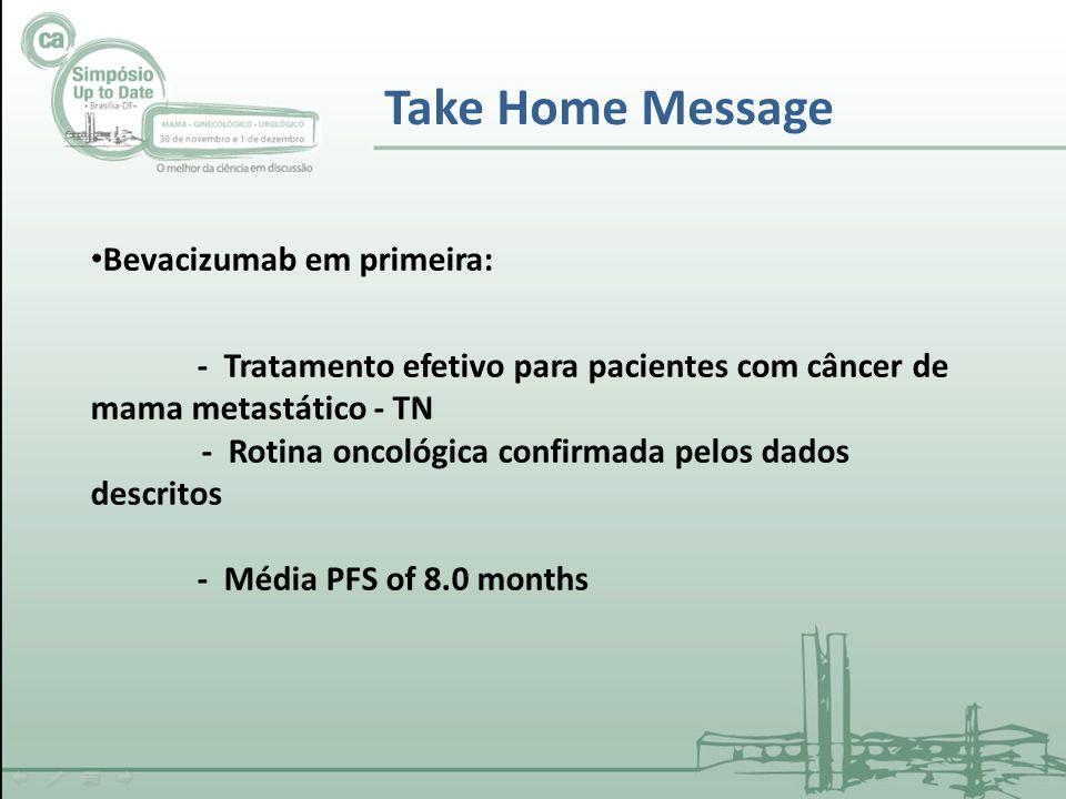 Bevacizumab em primeira: - Tratamento efetivo para pacientes com câncer de mama metastático - TN - Rotina oncológica confirmada pelos dados descritos - Média PFS of 8.0 months Take Home Message