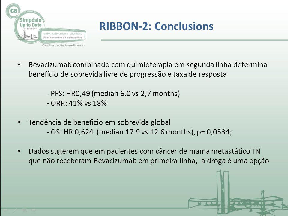 RIBBON-2: Conclusions Bevacizumab combinado com quimioterapia em segunda linha determina benefício de sobrevida livre de progressão e taxa de resposta