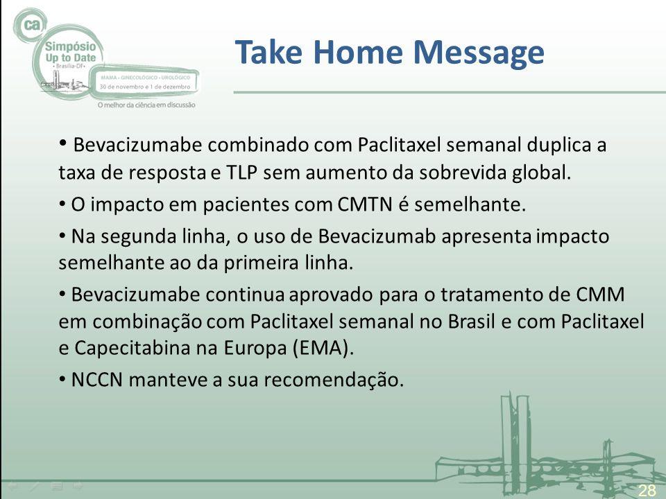 Take Home Message 28 Bevacizumabe combinado com Paclitaxel semanal duplica a taxa de resposta e TLP sem aumento da sobrevida global. O impacto em paci