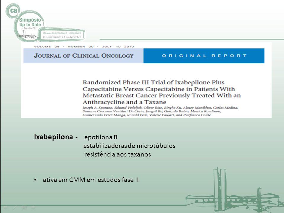Ixabepilona - epotilona B estabilizadoras de microtúbulos resistência aos taxanos ativa em CMM em estudos fase II