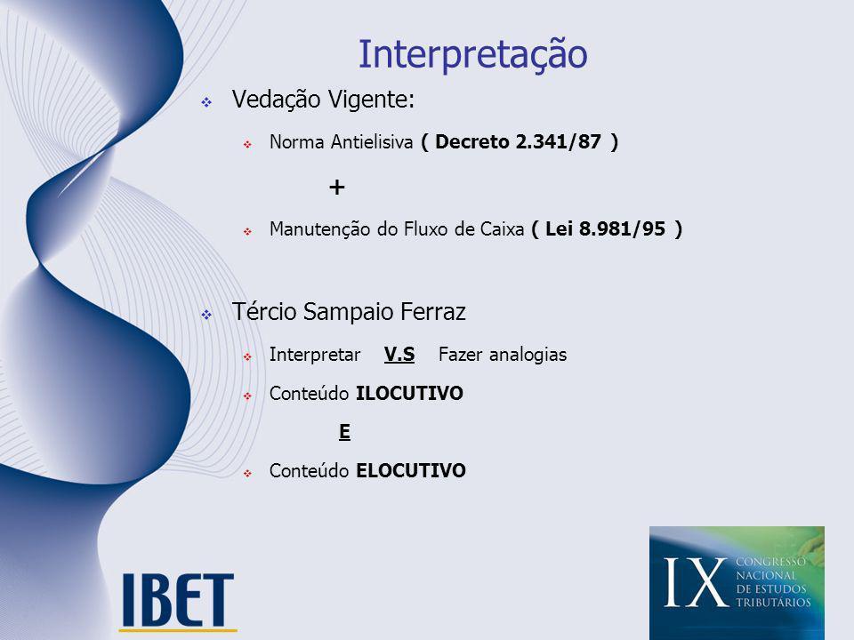 Interpretação Vedação Vigente: Norma Antielisiva ( Decreto 2.341/87 ) + Manutenção do Fluxo de Caixa ( Lei 8.981/95 ) Tércio Sampaio Ferraz Interpreta