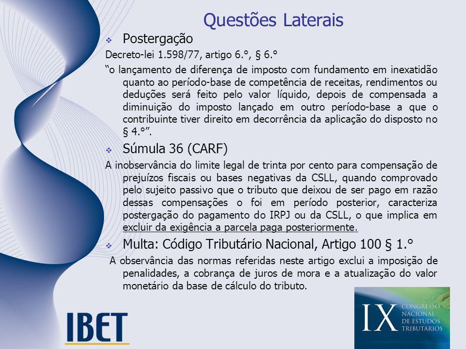 Questões Laterais Postergação Decreto-lei 1.598/77, artigo 6.°, § 6.° o lançamento de diferença de imposto com fundamento em inexatidão quanto ao perí