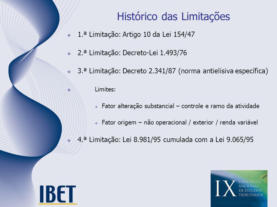 Histórico das Limitações 1.ª Limitação: Artigo 10 da Lei 154/47 2.ª Limitação: Decreto-Lei 1.493/76 3.ª Limitação: Decreto 2.341/87 (norma antielisiva