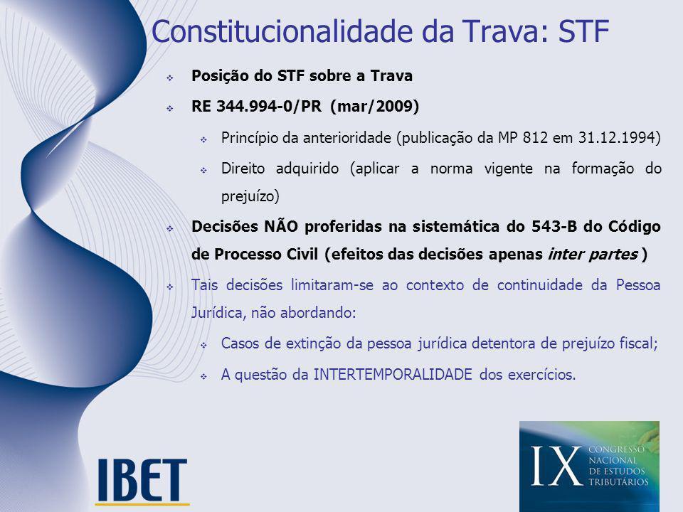 Constitucionalidade da Trava: STF Posição do STF sobre a Trava RE 344.994-0/PR (mar/2009) Princípio da anterioridade (publicação da MP 812 em 31.12.19
