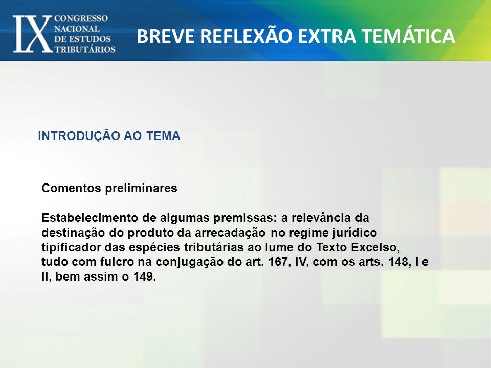 BREVE REFLEXÃO EXTRA TEMÁTICA INTRODUÇÃO AO TEMA Comentos preliminares Estabelecimento de algumas premissas: a relevância da destinação do produto da