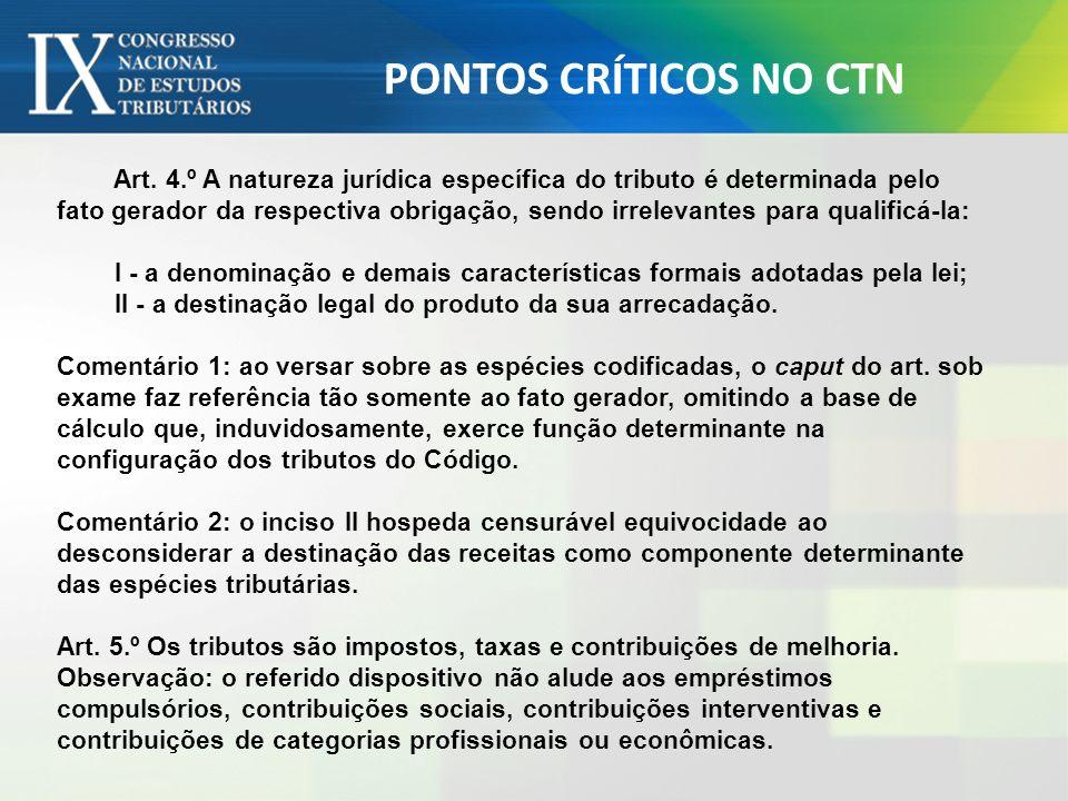 PONTOS CRÍTICOS NO CTN Art. 4.º A natureza jurídica específica do tributo é determinada pelo fato gerador da respectiva obrigação, sendo irrelevantes