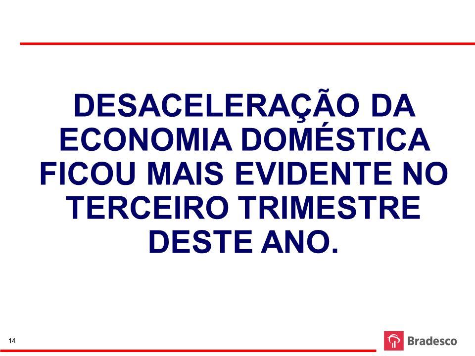 DESACELERAÇÃO DA ECONOMIA DOMÉSTICA FICOU MAIS EVIDENTE NO TERCEIRO TRIMESTRE DESTE ANO. 14