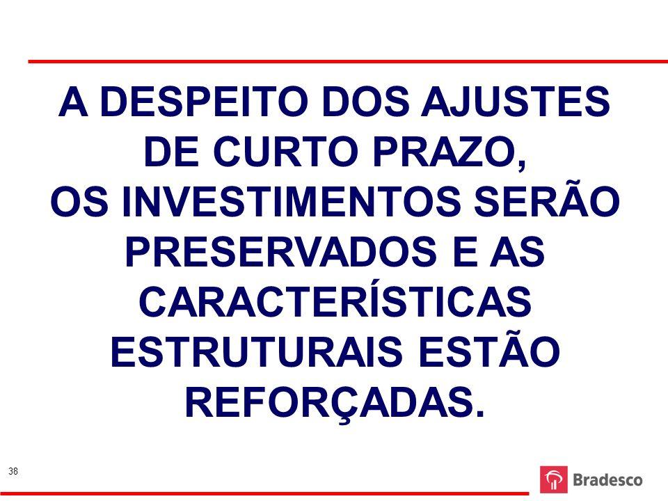 38 A DESPEITO DOS AJUSTES DE CURTO PRAZO, OS INVESTIMENTOS SERÃO PRESERVADOS E AS CARACTERÍSTICAS ESTRUTURAIS ESTÃO REFORÇADAS. 38
