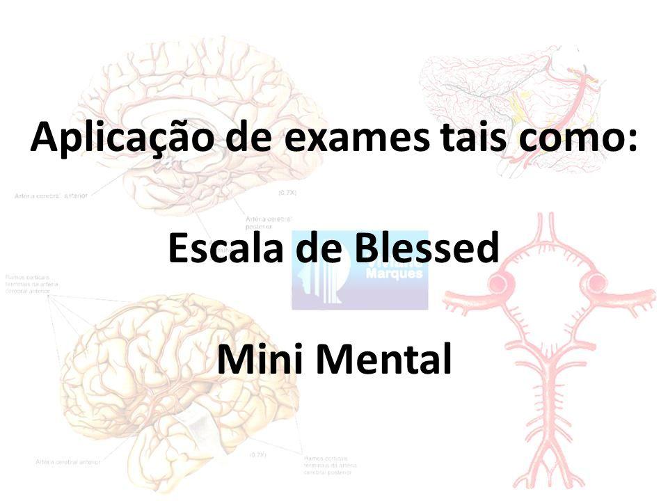 Aplicação de exames tais como: Escala de Blessed Mini Mental