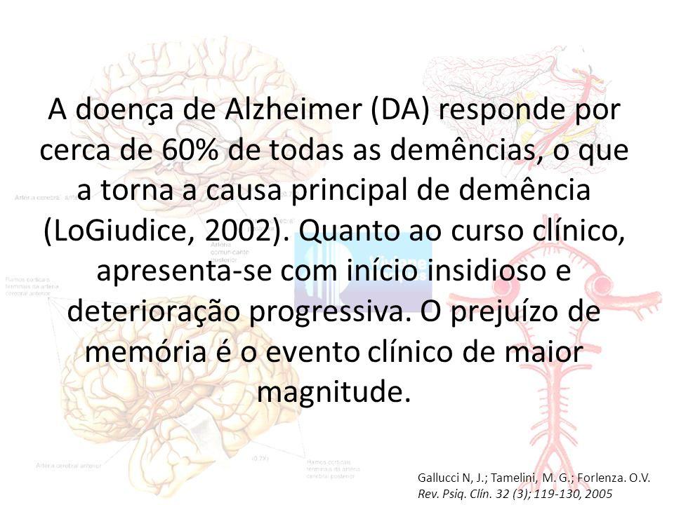 A doença de Alzheimer (DA) responde por cerca de 60% de todas as demências, o que a torna a causa principal de demência (LoGiudice, 2002).