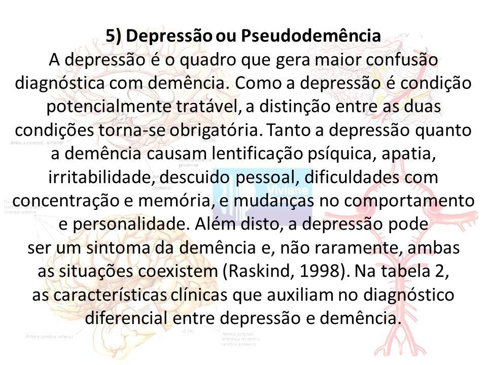 5) Depressão ou Pseudodemência A depressão é o quadro que gera maior confusão diagnóstica com demência.