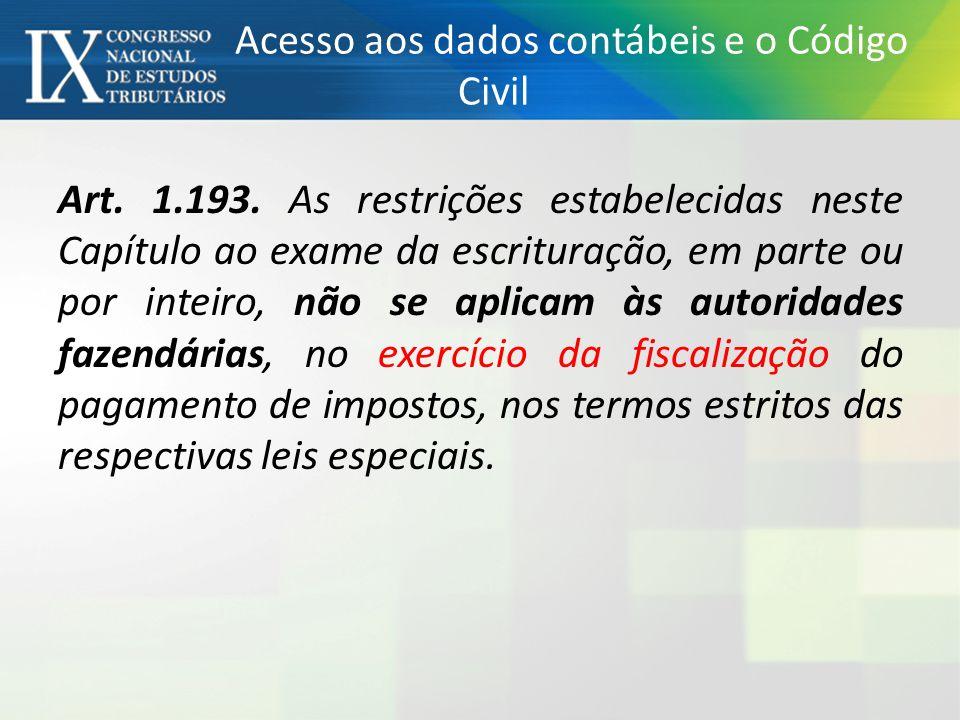 Acesso aos dados contábeis e o Código Civil Art. 1.193. As restrições estabelecidas neste Capítulo ao exame da escrituração, em parte ou por inteiro,