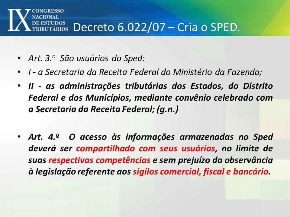 Decreto 6.022/07 – Cria o SPED. Art. 3. o São usuários do Sped: I - a Secretaria da Receita Federal do Ministério da Fazenda; II - as administrações t