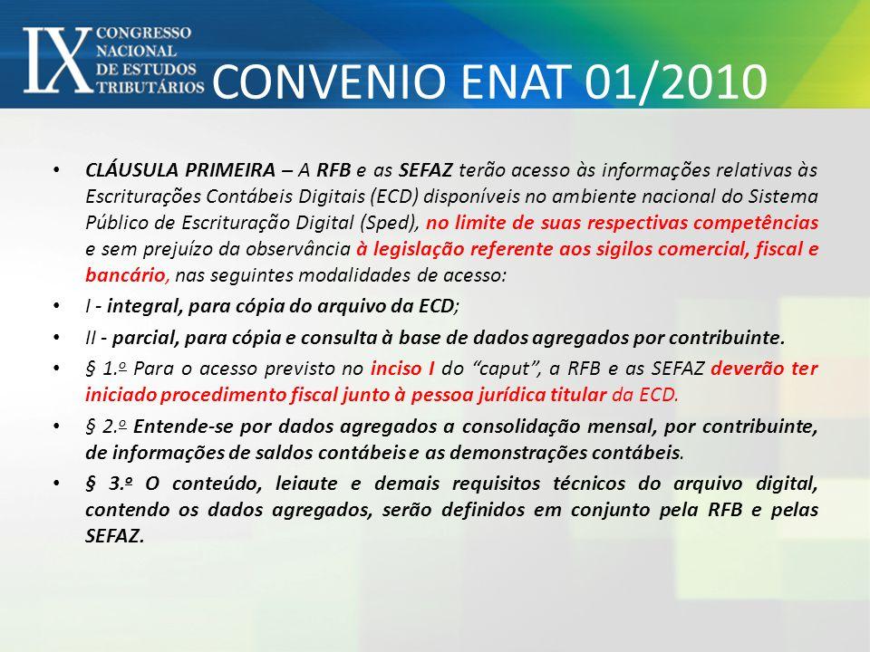 CONVENIO ENAT 01/2010 CLÁUSULA PRIMEIRA – A RFB e as SEFAZ terão acesso às informações relativas às Escriturações Contábeis Digitais (ECD) disponíveis