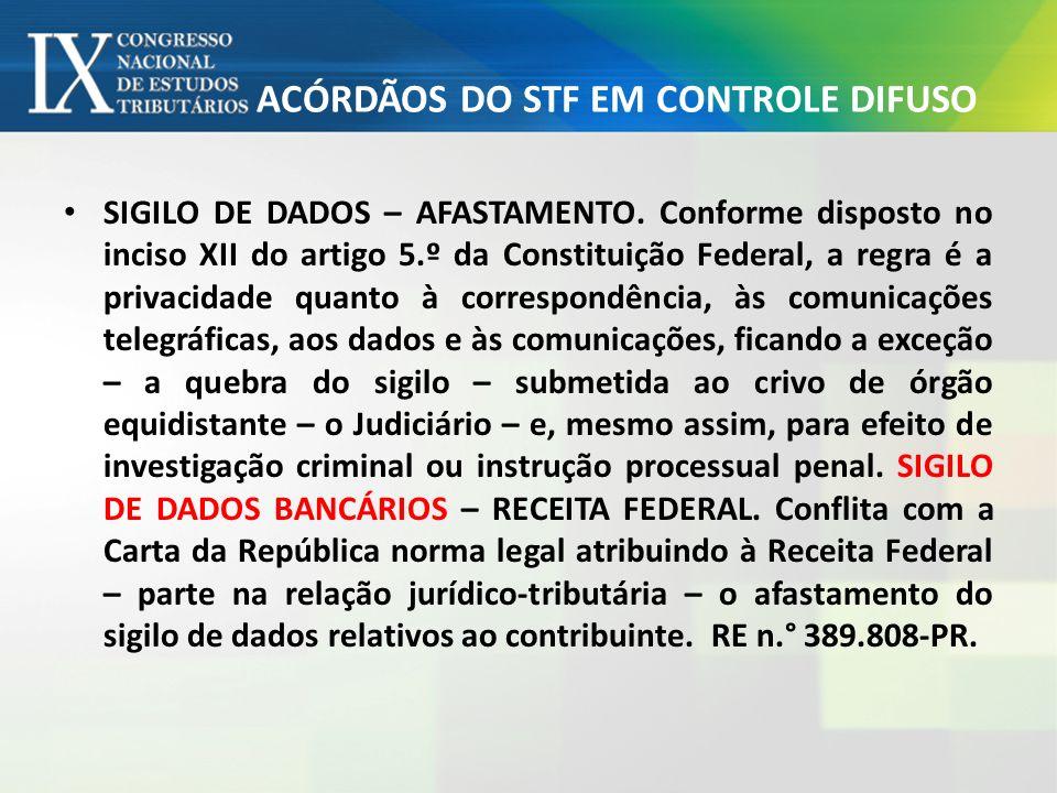ACÓRDÃOS DO STF EM CONTROLE DIFUSO SIGILO DE DADOS – AFASTAMENTO. Conforme disposto no inciso XII do artigo 5.º da Constituição Federal, a regra é a p