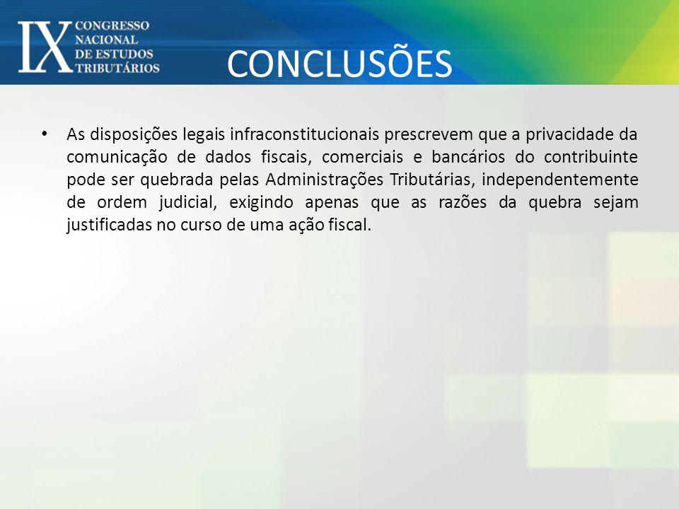 CONCLUSÕES As disposições legais infraconstitucionais prescrevem que a privacidade da comunicação de dados fiscais, comerciais e bancários do contribu